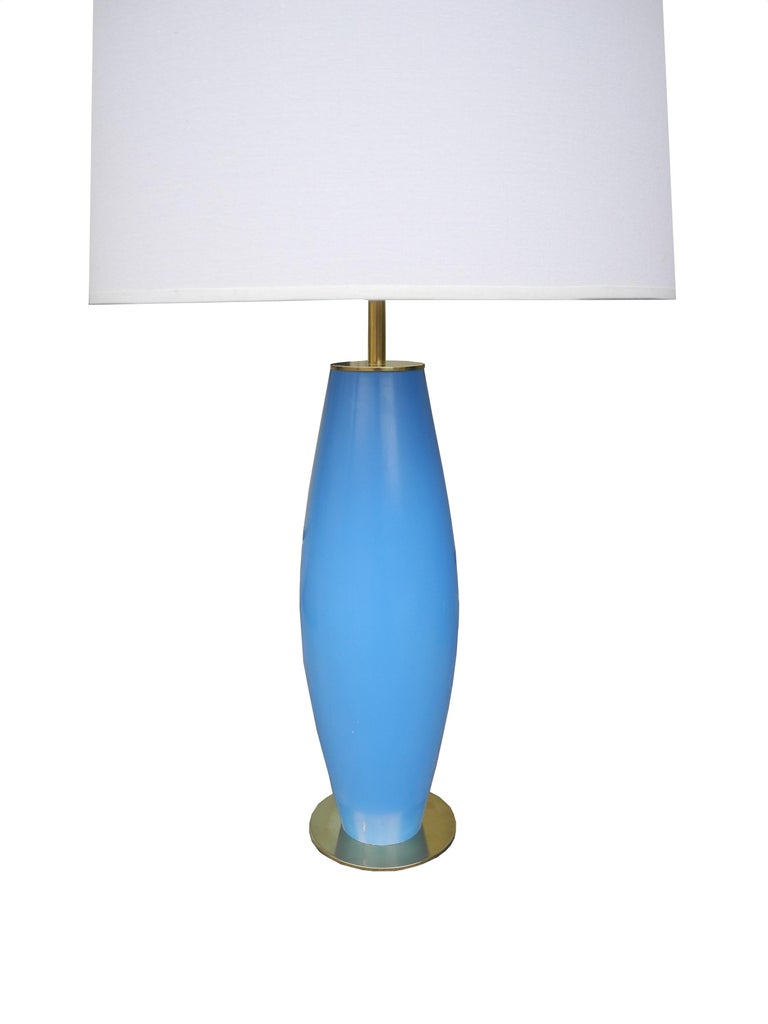 Modern Brass and Painted Blue Wood Lamp by Hansen For Sale