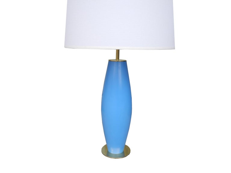 American Modern Brass and Painted Blue Wood Lamp by Hansen For Sale