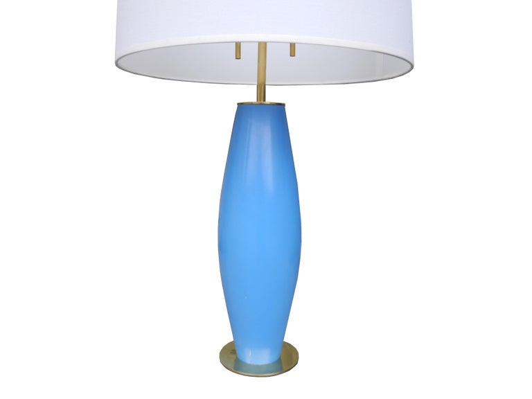 Mid-Century Modern Modern Brass and Painted Blue Wood Lamp by Hansen For Sale