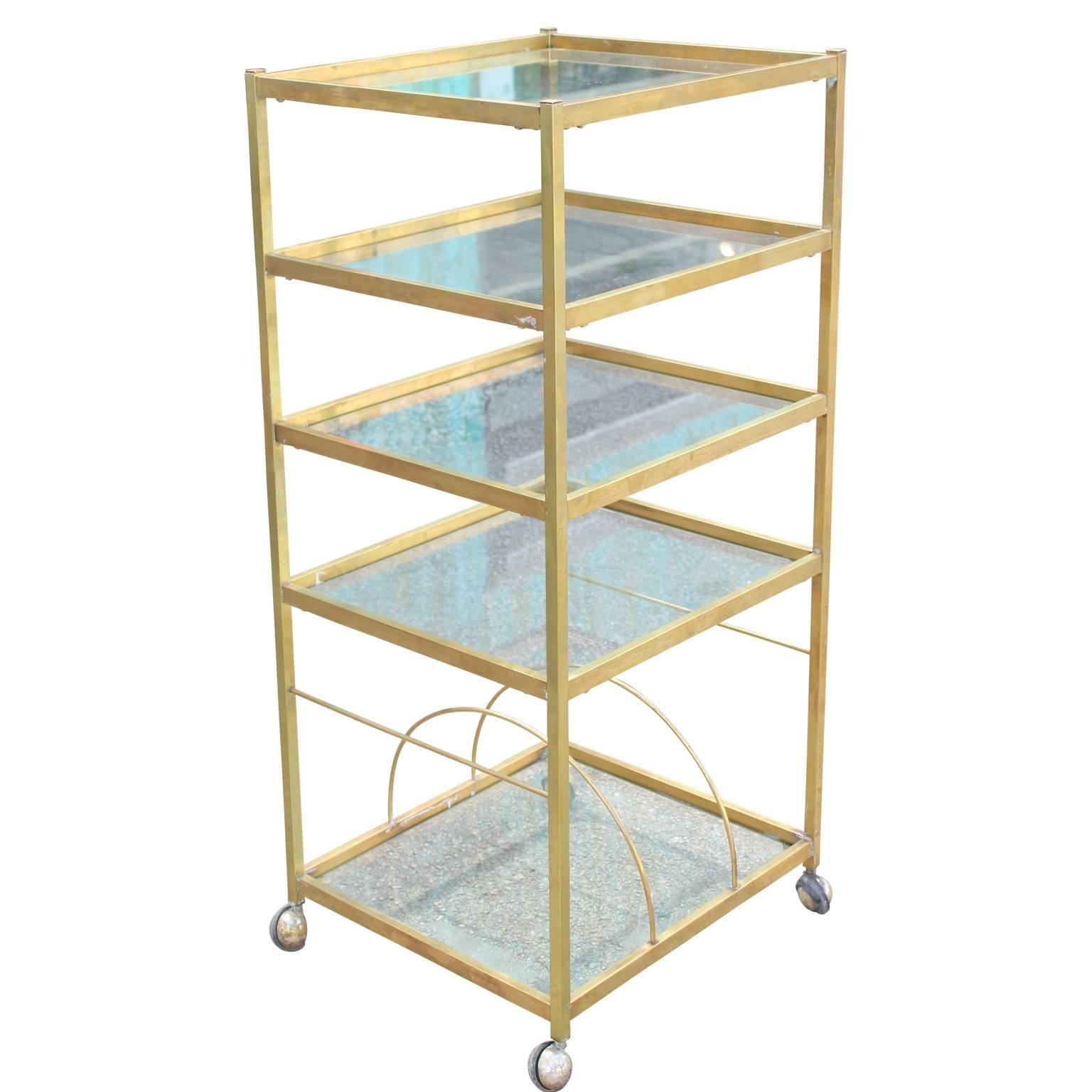 Modern Brass Bar Cart or Display with Glass Shelves