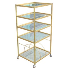 Modern Brass Bar Cart or Display with Glass Shelves