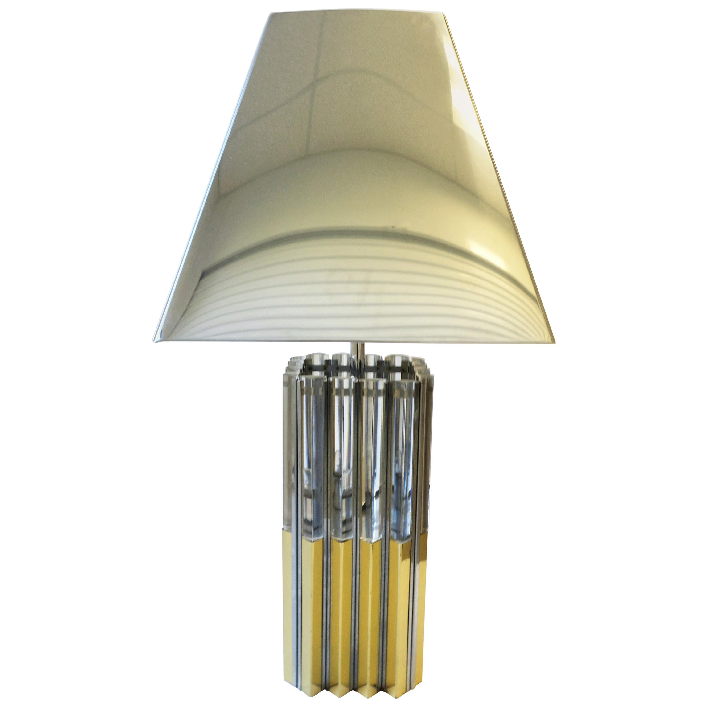 Modern Brass, Chrome, and Lucite, Table Lamp, circa 1970s