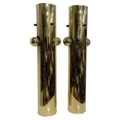 1970s Modern Brass Cylinder Table Lamp Pair Pop Art Style of Robert Sonneman