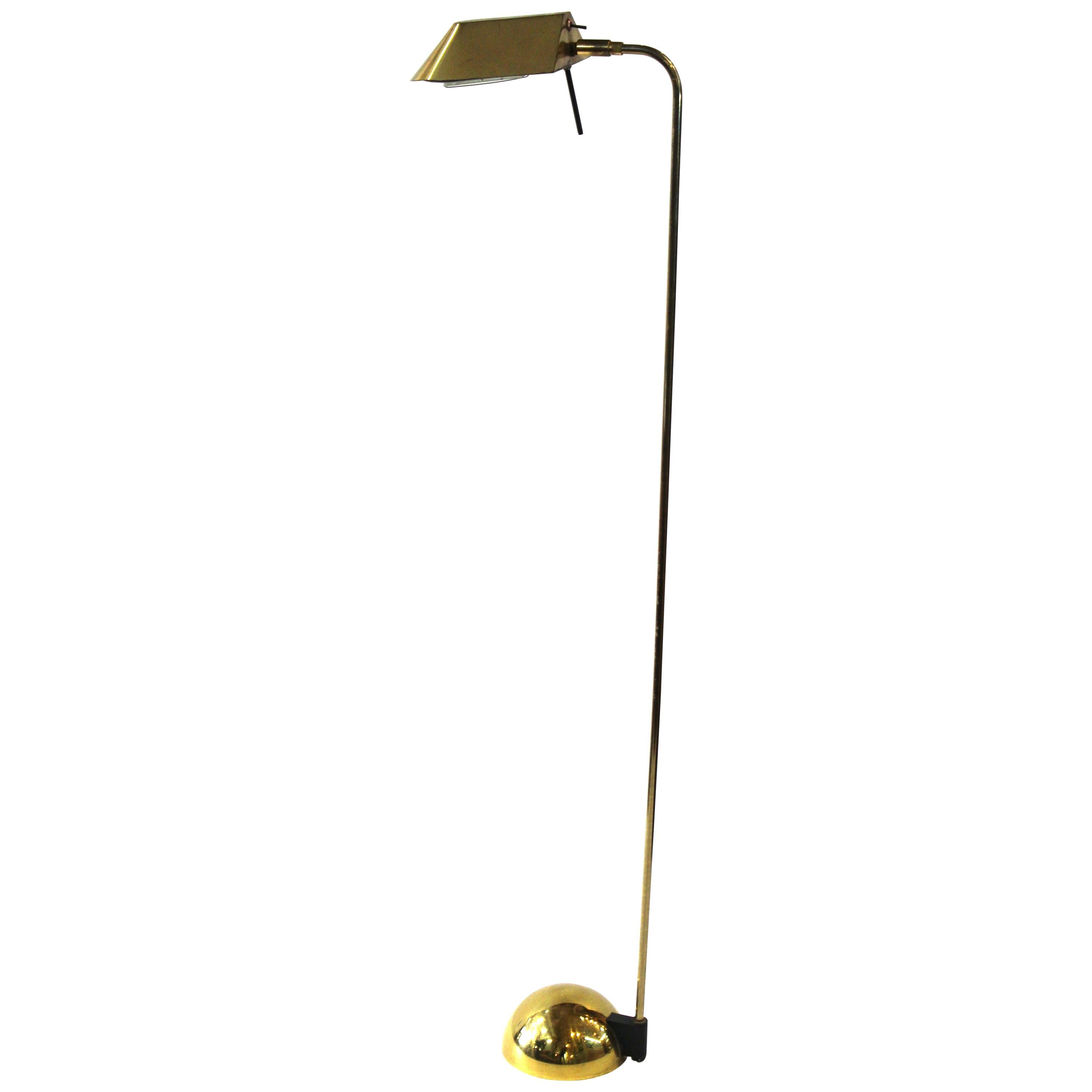 Modern Brass Floor Lamp or Reading Lamp with Adjustable Shade
