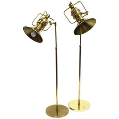 Modern Brass Floor Lamps with Adjustable Heads and Handles