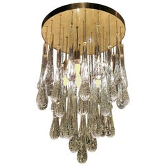 Modern Brass & Murano Clear Glass Drops Flush Mount Ceiling Light, Customizable