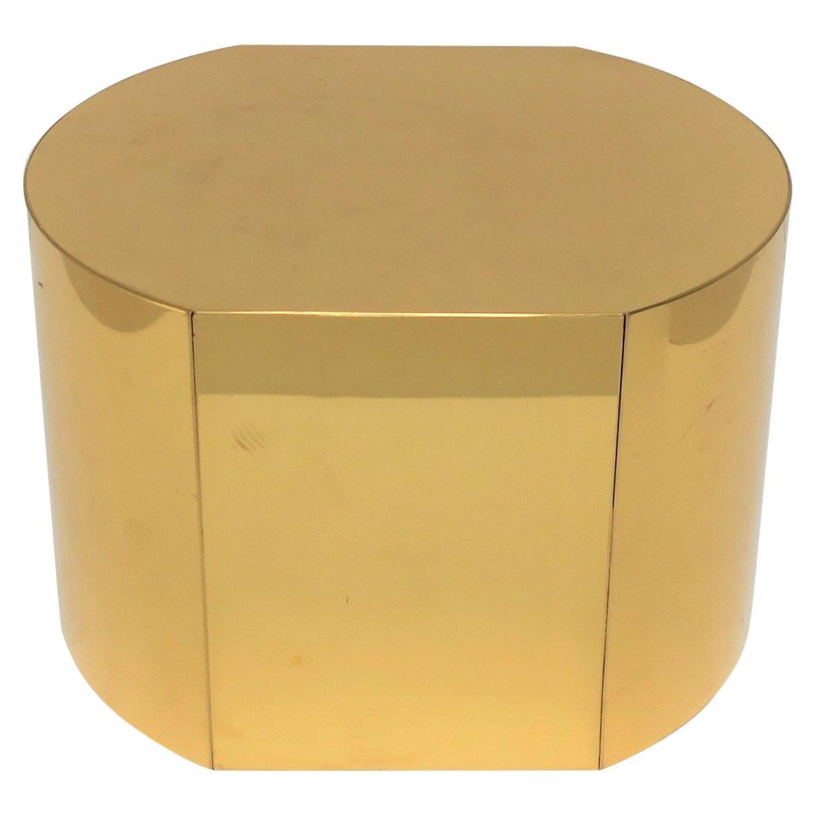 Modern Brass Pedestal Stand or Pedestal Side Table