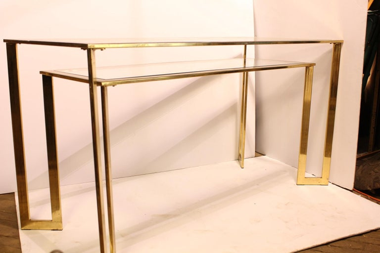 American Modern Brass-Plated Two-Tier Desk or Console Table For Sale