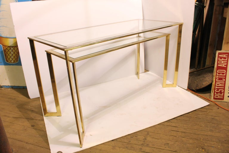 Modern Brass-Plated Two-Tier Desk or Console Table In Good Condition For Sale In Chicago, IL