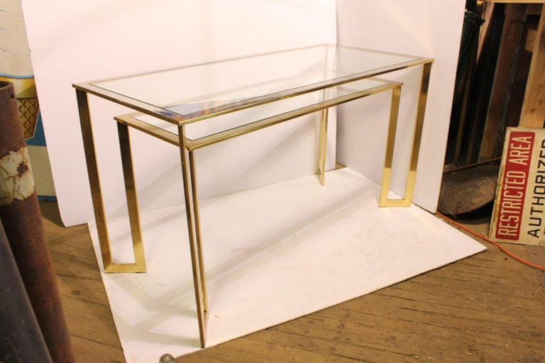 Late 20th Century Modern Brass-Plated Two-Tier Desk or Console Table For Sale