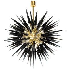 Modern Brass Starburst Chandelier with Onyx Hand Blown Murano Glass Obelisks