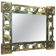 Modern Brass Stylized Flower and Leaves Mirror