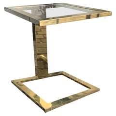 Modern Brass Table with Glass Top, circa 1970-1980s