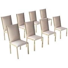 Modern Brass Velvet Grey Set of France Chairs, 1970