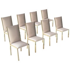Modern Brass Velvet Grey Set of France Chairs, 1970