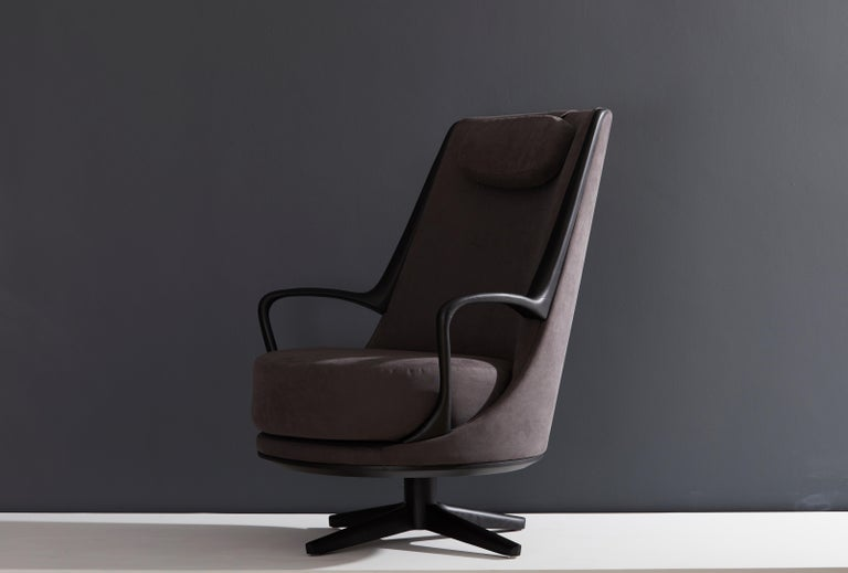 Modern Brazilian Armchair in Solid Wood, Textiles or Leathers For Sale 6