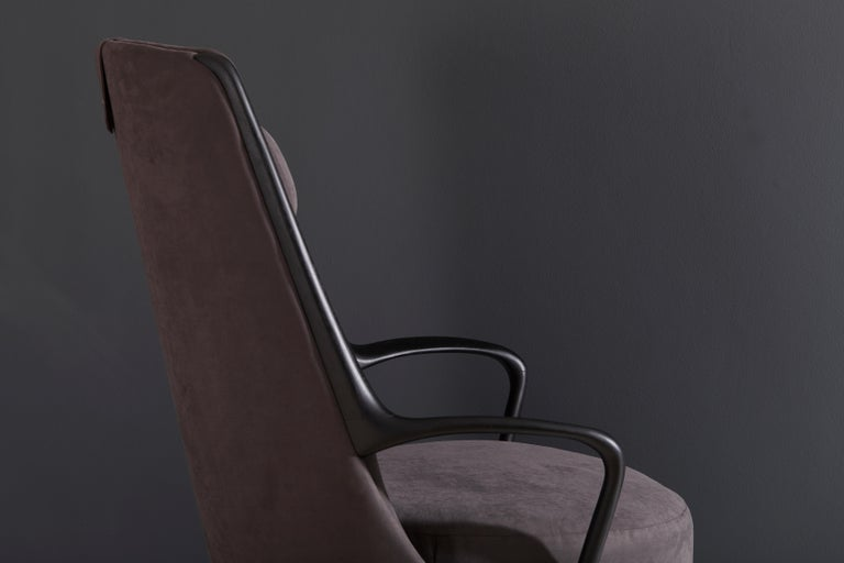 Modern Brazilian Armchair in Solid Wood, Textiles or Leathers For Sale 9