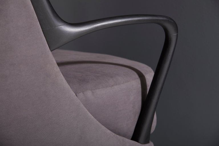Modern Brazilian Armchair in Solid Wood, Textiles or Leathers For Sale 11