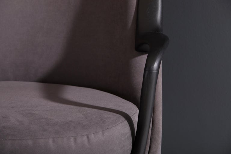 Modern Brazilian Armchair in Solid Wood, Textiles or Leathers For Sale 12