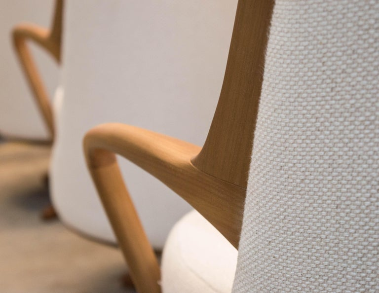 Modern Brazilian Armchair in Solid Wood, Textiles or Leathers In New Condition For Sale In Sao Paolo, SP