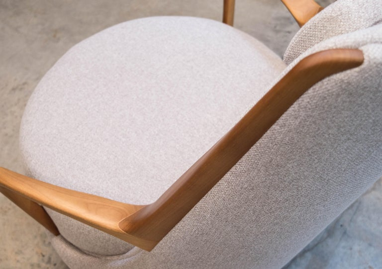 Contemporary Modern Brazilian Armchair in Solid Wood, Textiles or Leathers For Sale