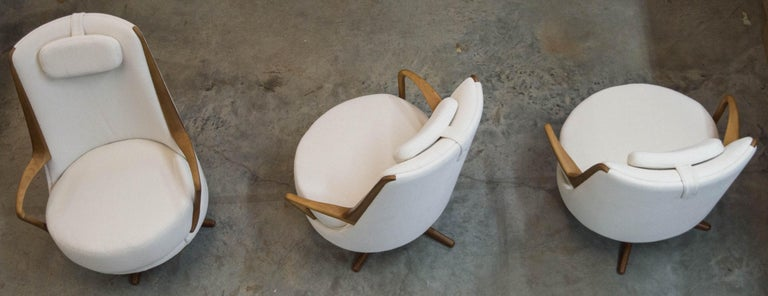 Modern Brazilian Armchair in Solid Wood, Textiles or Leathers For Sale 4