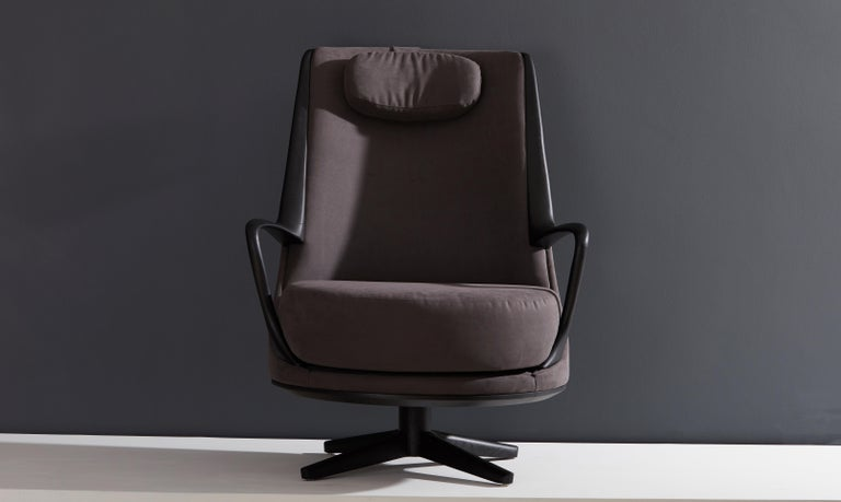 Modern Brazilian Armchair in Solid Wood, Textiles or Leathers For Sale 5