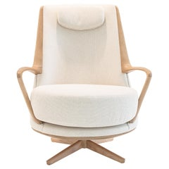 Modern Brazilian Armchair in Solid Wood, Textiles or Leathers