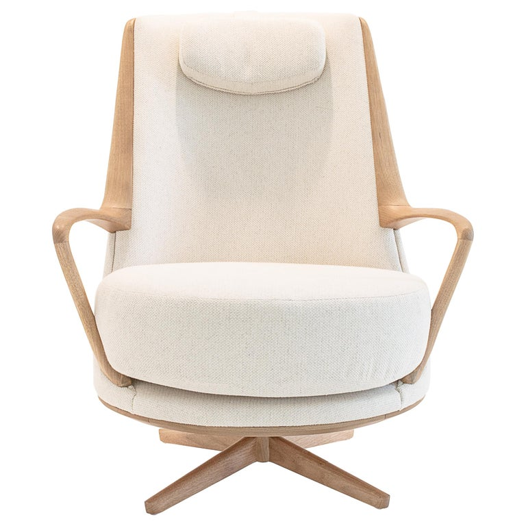Modern Brazilian Armchair in Solid Wood, Textiles or Leathers For Sale