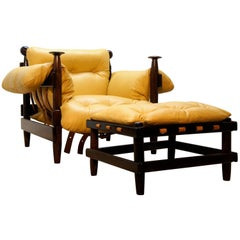 Modern Brazilian Armchair with Ottoman, Rosewood Structure