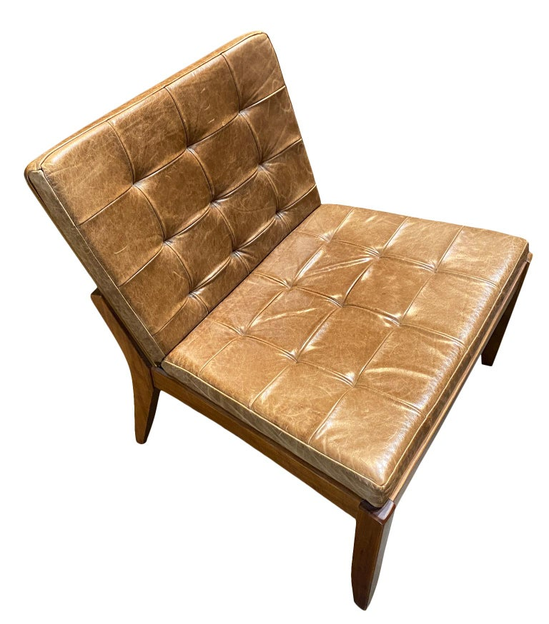 Mid-Century Modern Modern Brazilian Brown Leather Low Lounge Chair by Fernando Jaeger For Sale