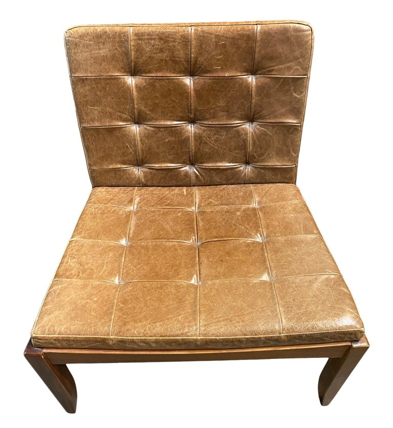 Modern Brazilian Brown Leather Low Lounge Chair by Fernando Jaeger In Distressed Condition For Sale In BROOKLYN, NY