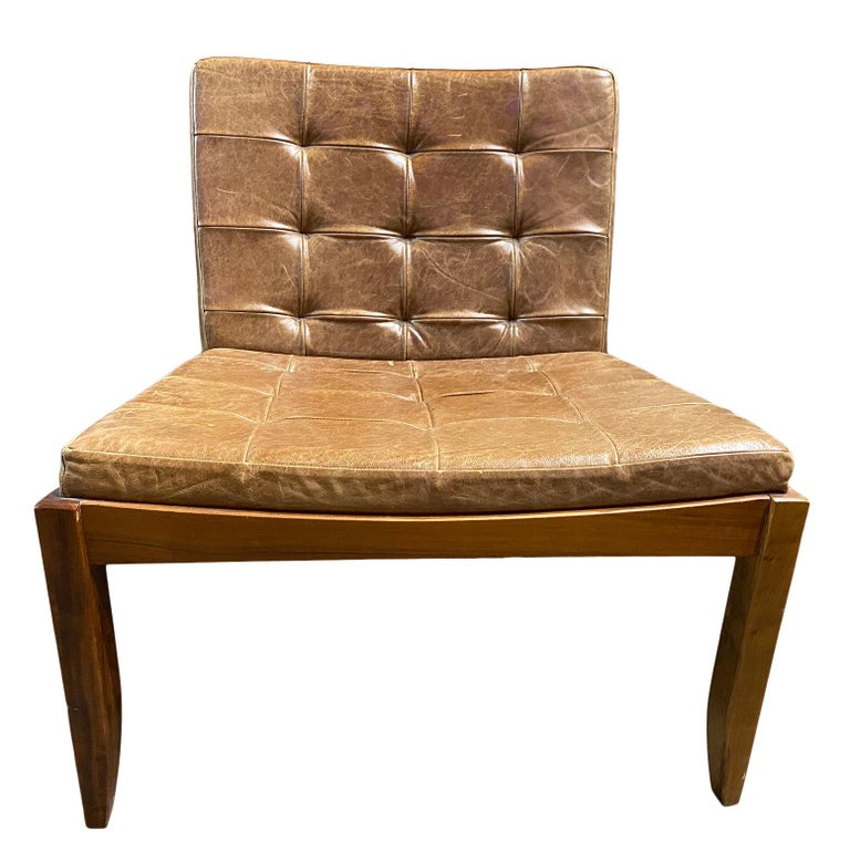 Contemporary Modern Brazilian Brown Leather Low Lounge Chair by Fernando Jaeger For Sale