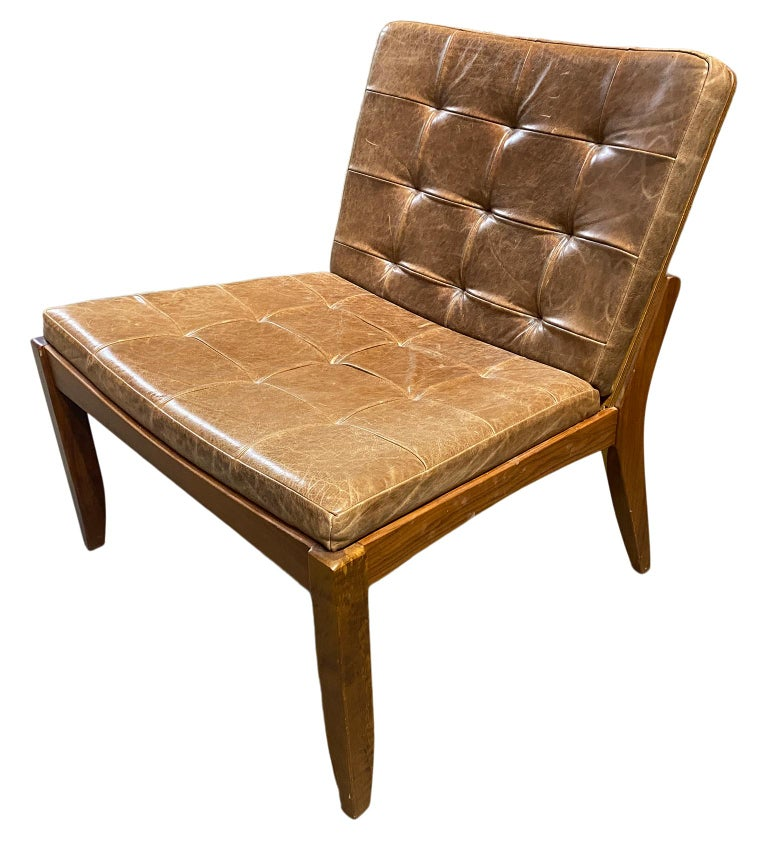 Modern Brazilian Brown Leather Low Lounge Chair by Fernando Jaeger For Sale 1