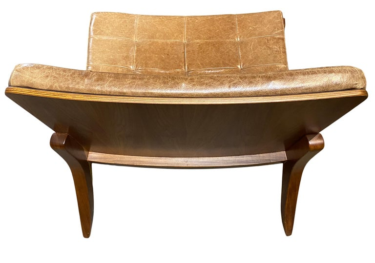 Modern Brazilian Brown Leather Low Lounge Chair by Fernando Jaeger For Sale 3