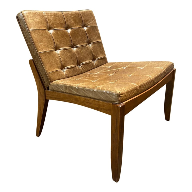 Modern Brazilian Brown Leather Low Lounge Chair by Fernando Jaeger For Sale