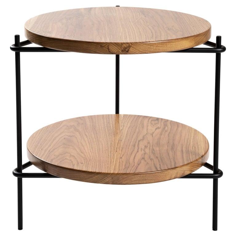 "Minimalis Brazilian side table in solid wood  ""Janice"" by Samuel Lamas For Sale"