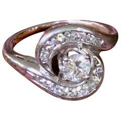 Modern Brilliant Cut .35 Carat Diamond 18 Karat White Gold Ring - Size 5