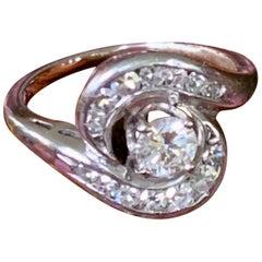 Modern Brilliant Cut .35 Carat Diamond 18 Karat White Gold Ring