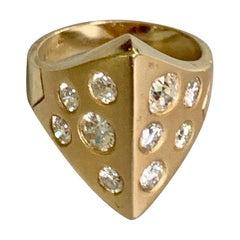 Modern Brilliant Cut Diamond 14 Karat Yellow Gold Fashion Ring
