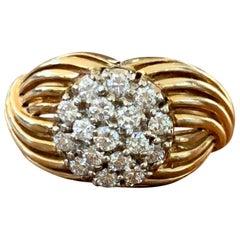 Modern Brilliant Cut Diamond 18 Karat Yellow Gold Fashion Ring