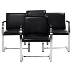 Modern Brno Black Leather Flat Bar Cantilever Chairs, Knoll, Set of 4