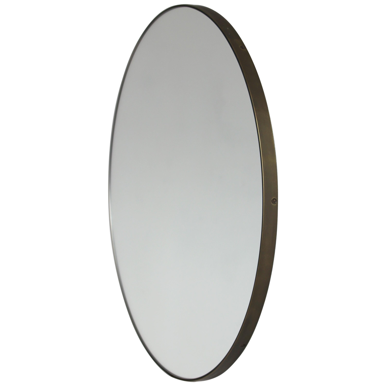 Orbis™ Round Art Deco Mirror with Brass Frame with Bronze Patina - Regular