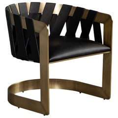 Modern Bronze Leather Lounge Chair