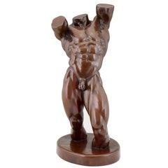 Modern Bronze Nude Sculpture Male Torso Monogrammed