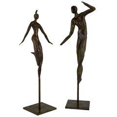 Moderne Bronze Skulpturen, tanzendes Paar, Isabelle Calvetti, Frankreich, 2000
