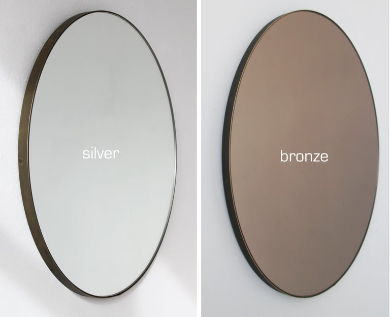 Contemporary Modern Bronze Tinted Orbis Circular Mirror Brass Frame with Bronze Patina For Sale