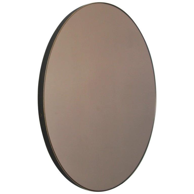 Modern Bronze Tinted Orbis Circular Mirror Brass Frame with Bronze Patina For Sale