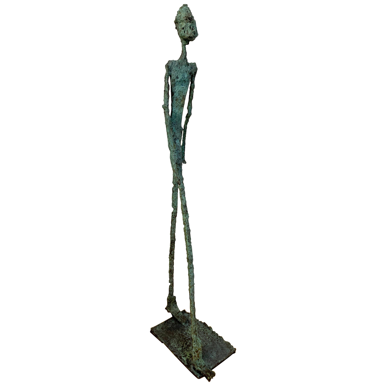 Modern Bronze 'Walking Man' Sculpture