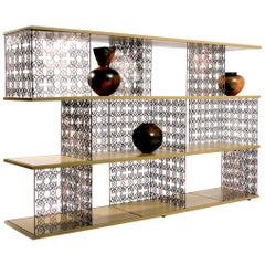 Modern Bronzed Steel & Lacquered Timber Modular Desert Rose Bookcase Shelves